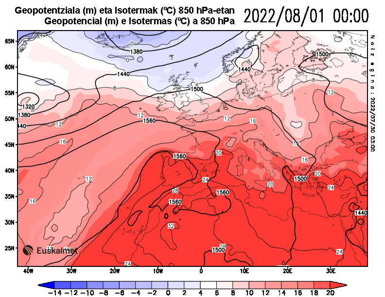 Geopotencial e isotermas a 850 hPa