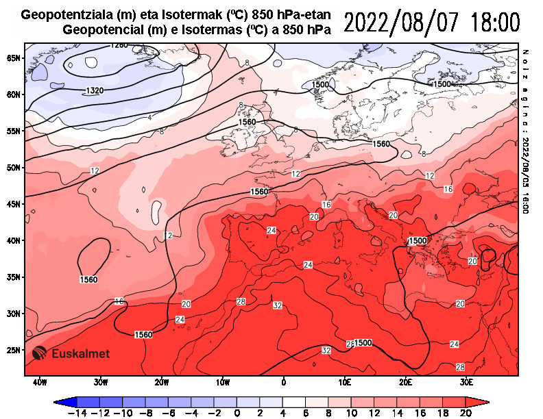 Geopotencial e isotermas a 850 hPa 18:00