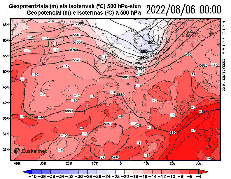 Geopotencial e isotermas a 500 hPa