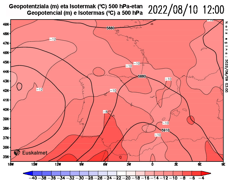 Geopotencial e isotermas a 500 hPa 12:00