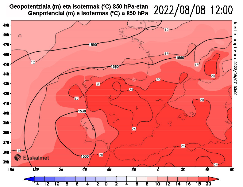 Geopotencial e isotermas a 850 hPa 12:00